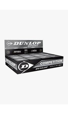 Dunlop Competition Squashbal (enkele gele stip) - 12 Stuks