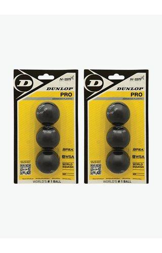 2 x Dunlop Pro Squashbal (dubbele gele stip) - 3 Blister