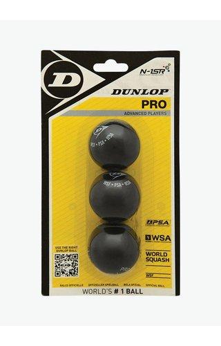 Dunlop Pro Squashbal (dubbele gele stip) - 3 Blister