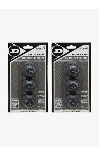 2 x Dunlop Competition Squashbal (enkele gele stip) - 3 Blister