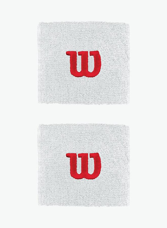 Wilson 'W' Polsband - 2  Stuks - Wit