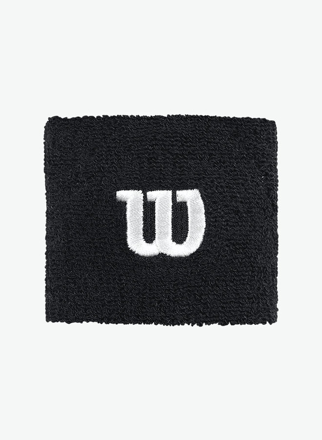 Wilson 'W' Polsband - 2  Stuks - Zwart