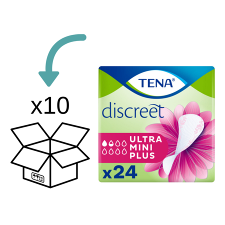 TENA TENA Discreet Ultra Mini Plus inlegkruisjes - 10 pakken