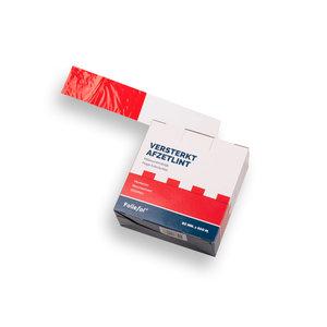 Afzetband 500 meter lang, 8 cm breed, rood/wit, versterkt