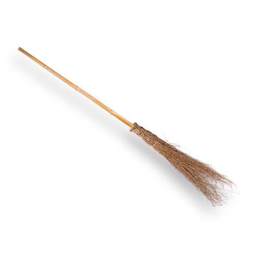 Bamboe bezem met steel.