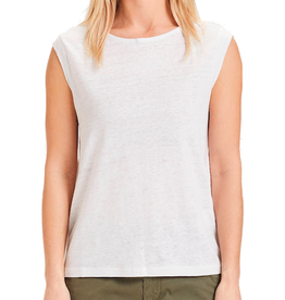KnowledgeCotton Apparel KnowledgeCotton, Violet loose line tee, bright white, XS