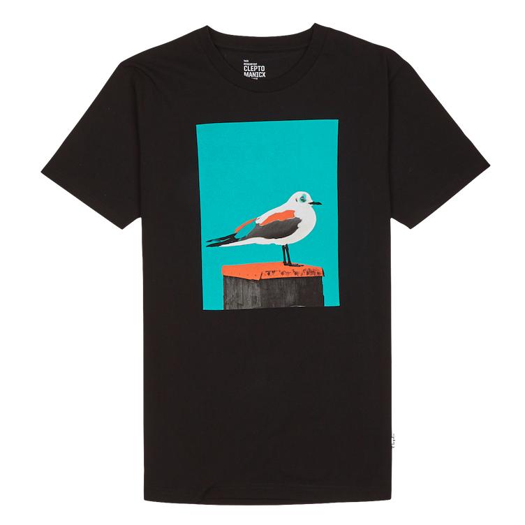 Cleptomanicx Cleptomanicx, Basic Tee Paint Gull, black, S