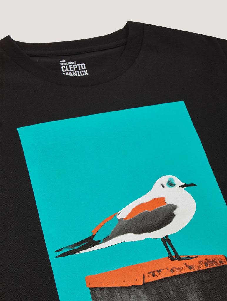 Cleptomanicx Cleptomanicx, Basic Tee Paint Gull, black, XL