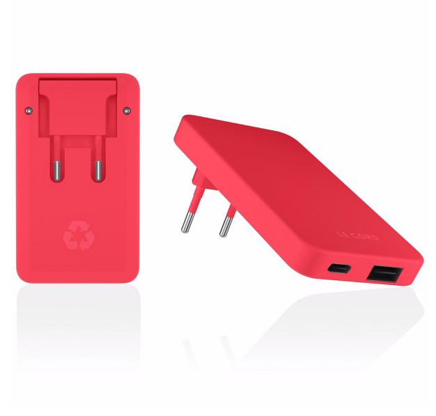 Le Cord LeCord, Recharger Dual Plug, red