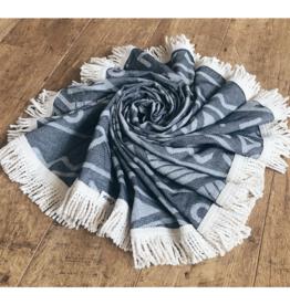 L'Anse, Towel, rund, schwarz/nature, 150cm