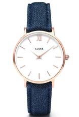 Cluse Cluse, Minuit, rose gold white/blue denim