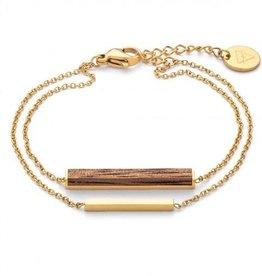 Kerbholz Kerbholz, Rectangle Bracelet, walnut/gold