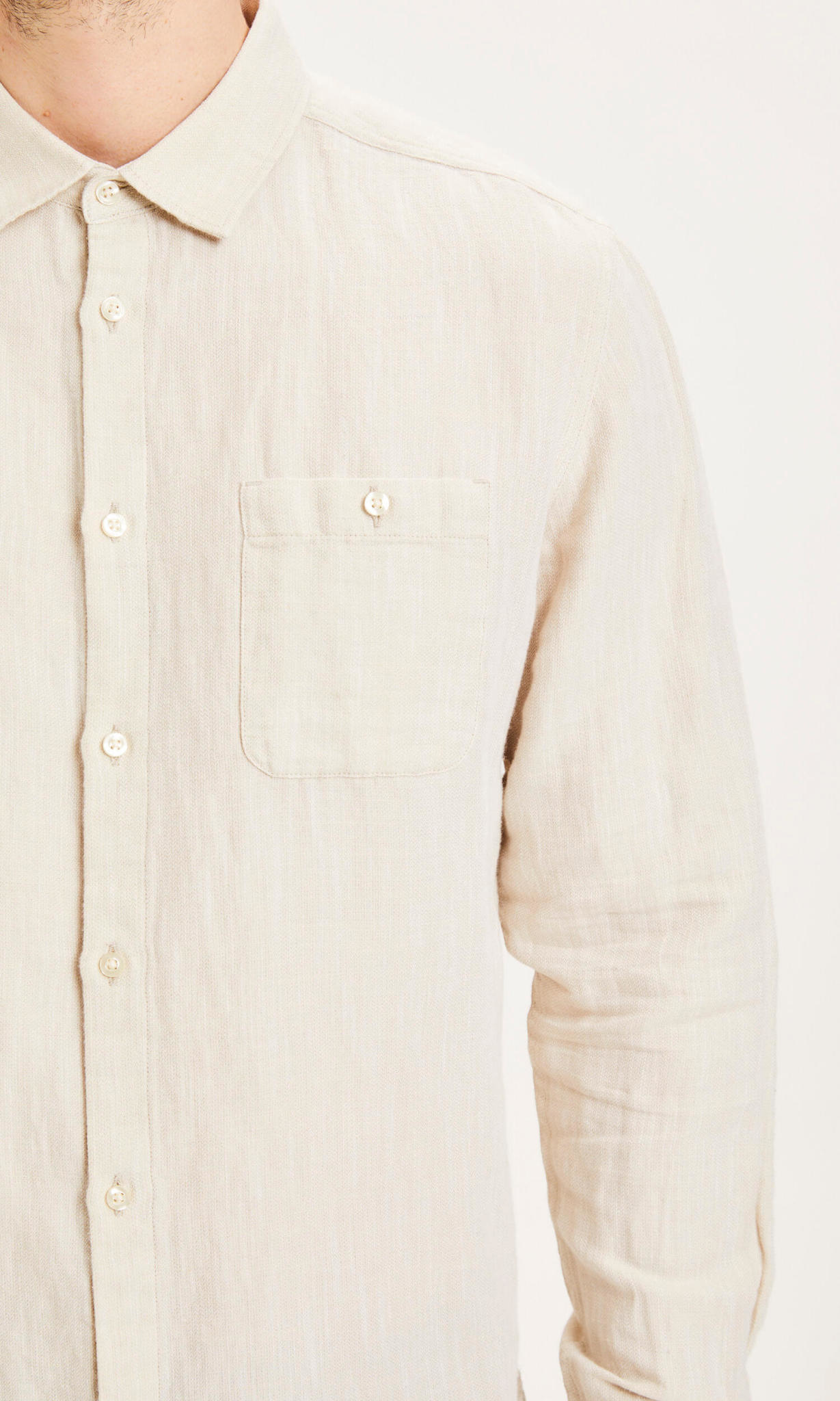 KnowledgeCotton Apparel KnowledgeCotton, Larch linen strutured, feather gray, XL
