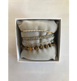 Les Interchangeables Strass Box 4 Way Bracelets Brown on Silver