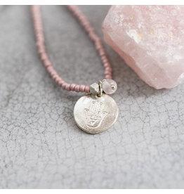 A beautiful Story Truly Rose Quartz Hamsa Silver Necklace