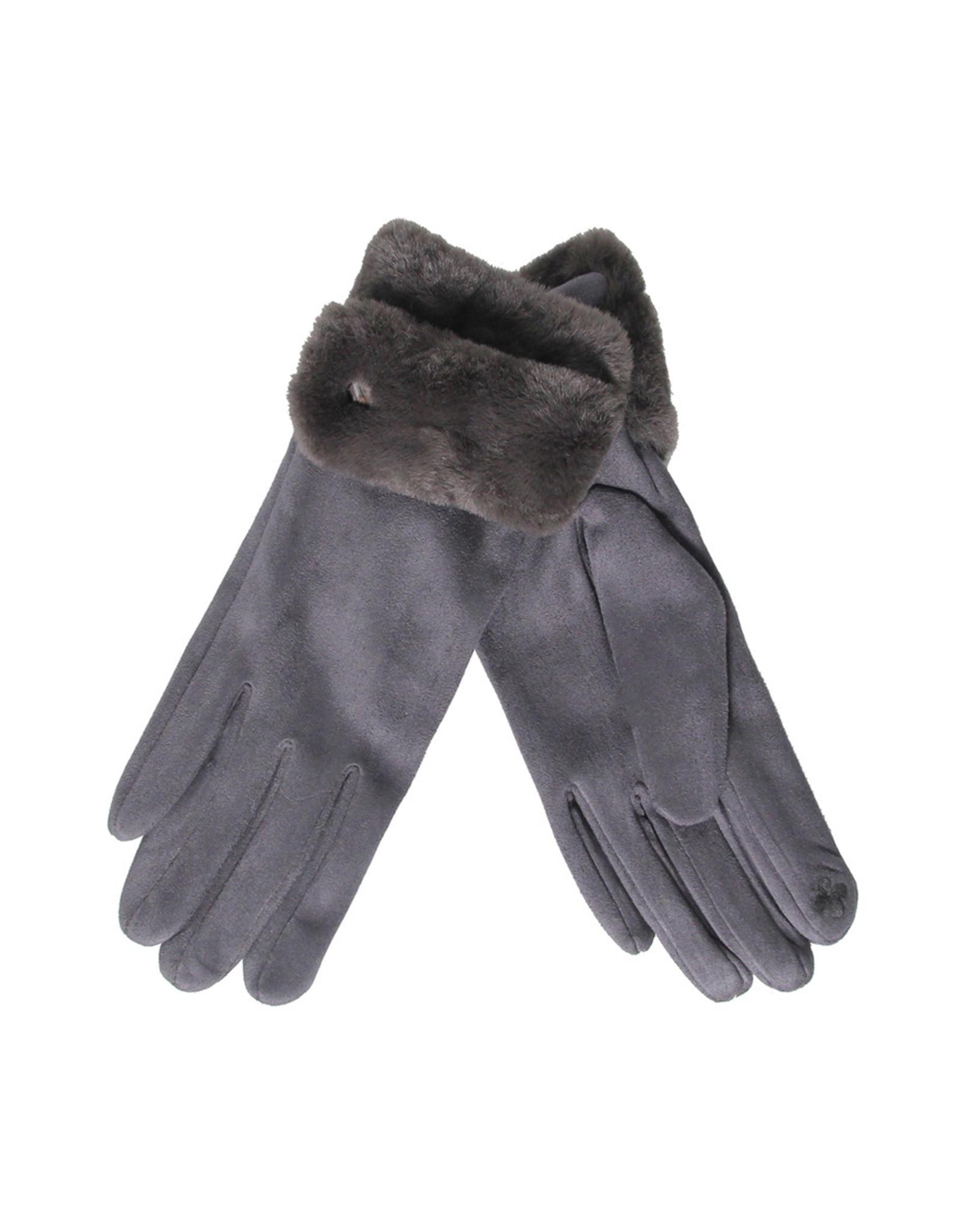 PARIS ES'TYL Fur Cuffed Gloves
