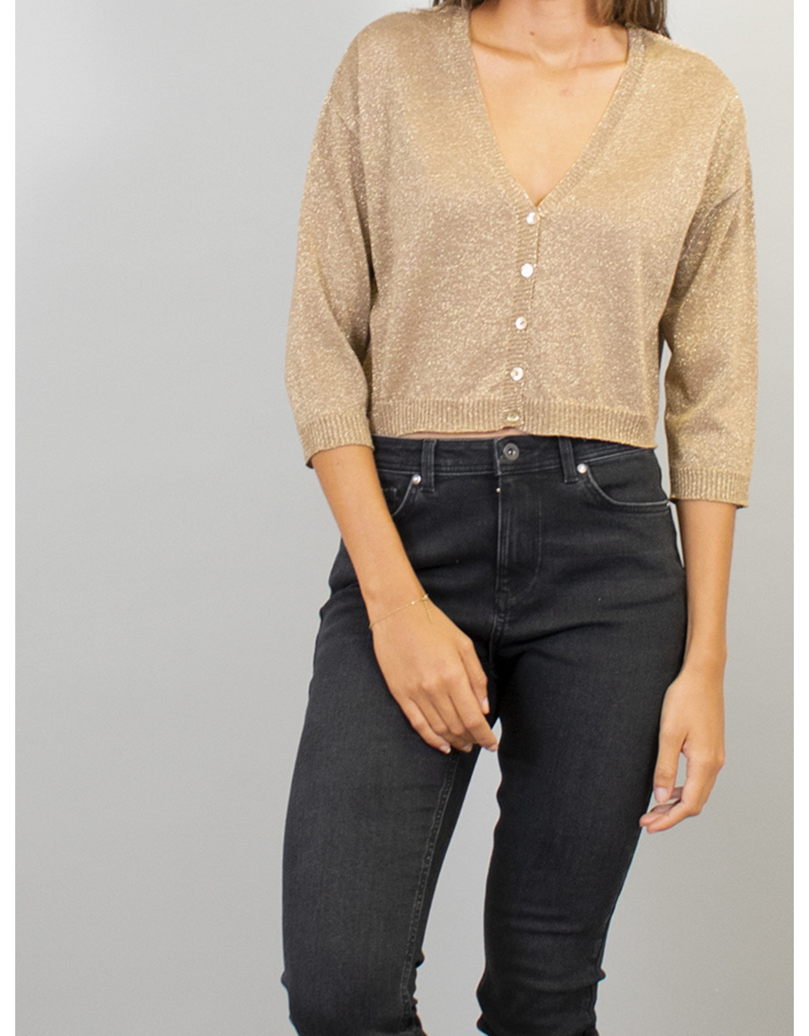 La Fee Maraboutee Gold Shimmer Fine Knit Cardi
