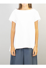 Humility Crisp Cotton Top with Pleat Detail On Left sleeve