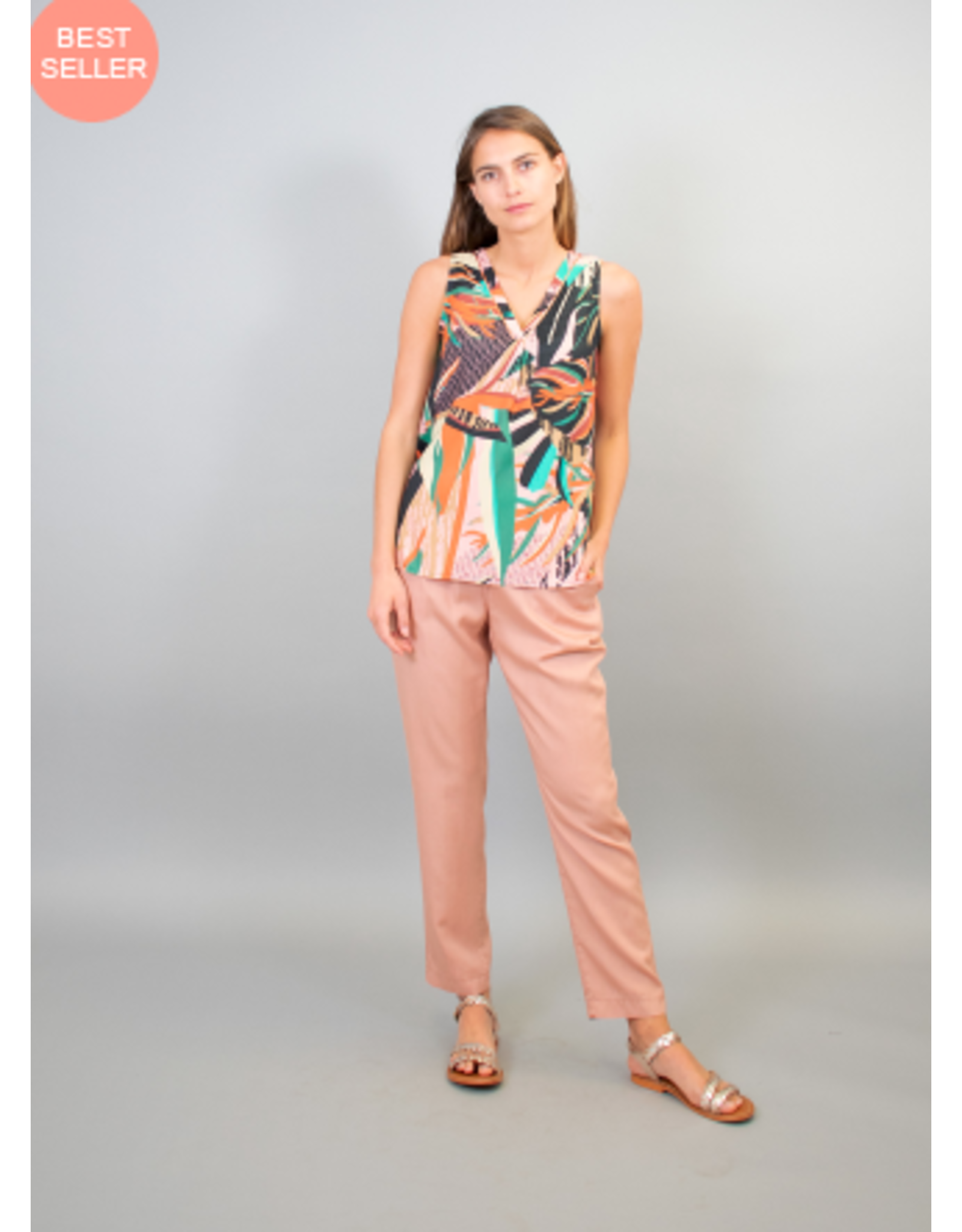 La Fee Maraboutee Sleeveless V Neck Tropical Print Top