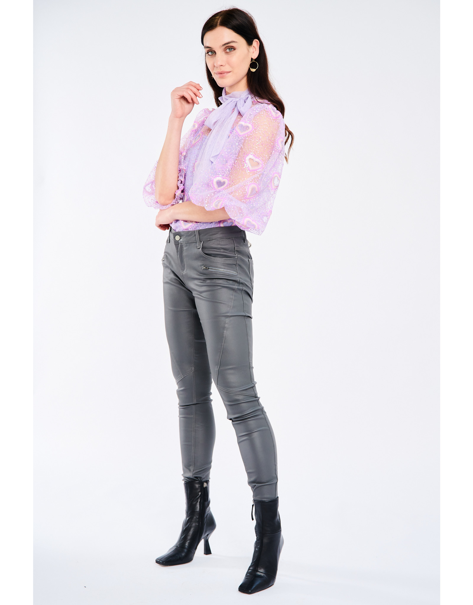 Fee G  835/k - Heart Embroidery Tulle Top
