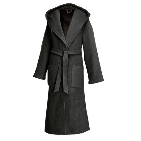 ANTHRACITE   HOODED ROBE LONG