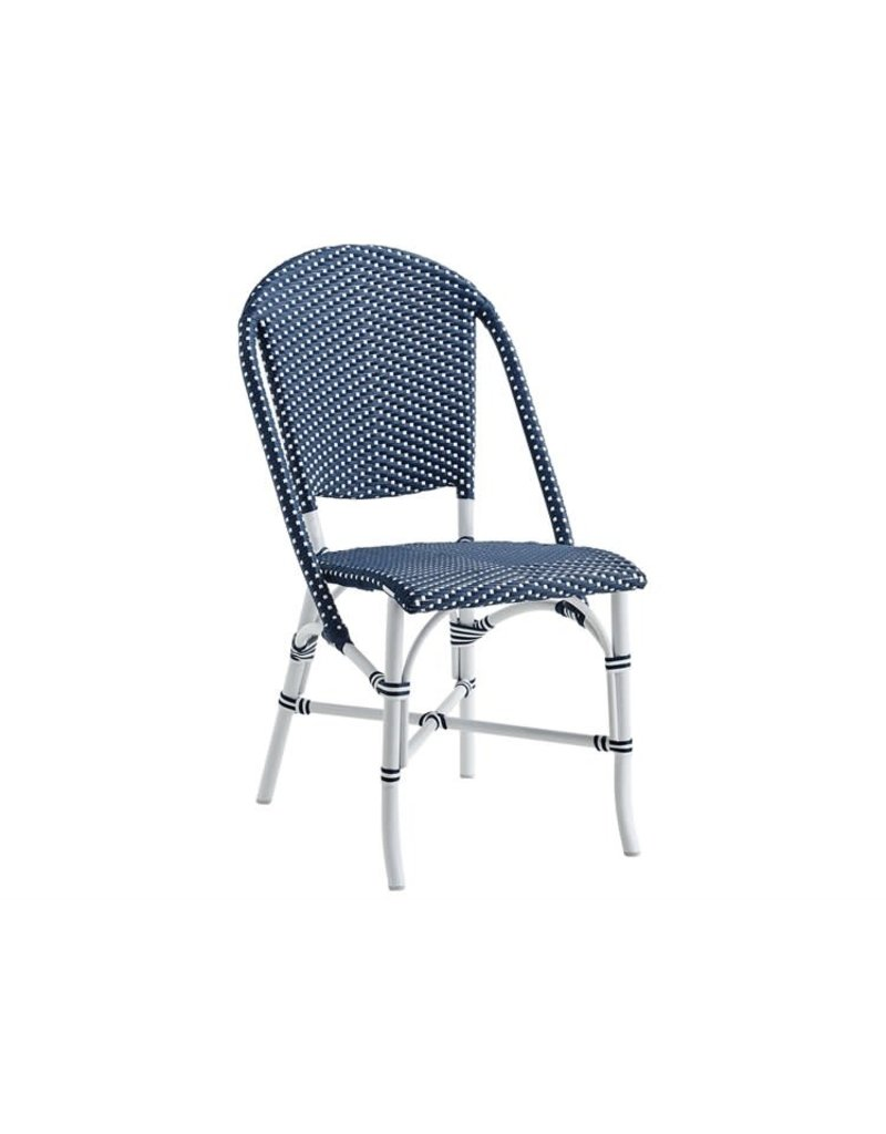 Exterior Sofie Chair, Exterior. Aluminium frame white. ArtFibre weave Navy blue w White Dots.
