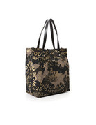 Campomaggi Shopper. Long Handles. Canvas and leather. Camouflage + Black + Gold Print.