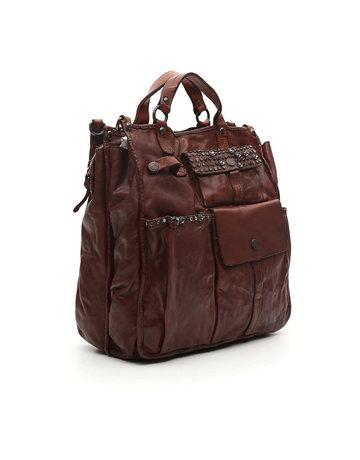 Campomaggi Genuine leather. oscati?style Tote bag. Studs & Strass Diamante. Cognac