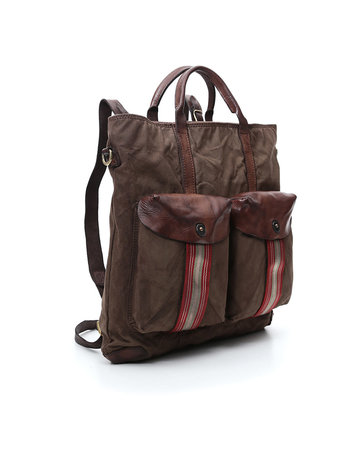 Campomaggi Backpack/Shopping. Leather and fabric. Military and Brown stained.
