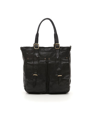 Campomaggi Briefcase. Genuine leather. Black.