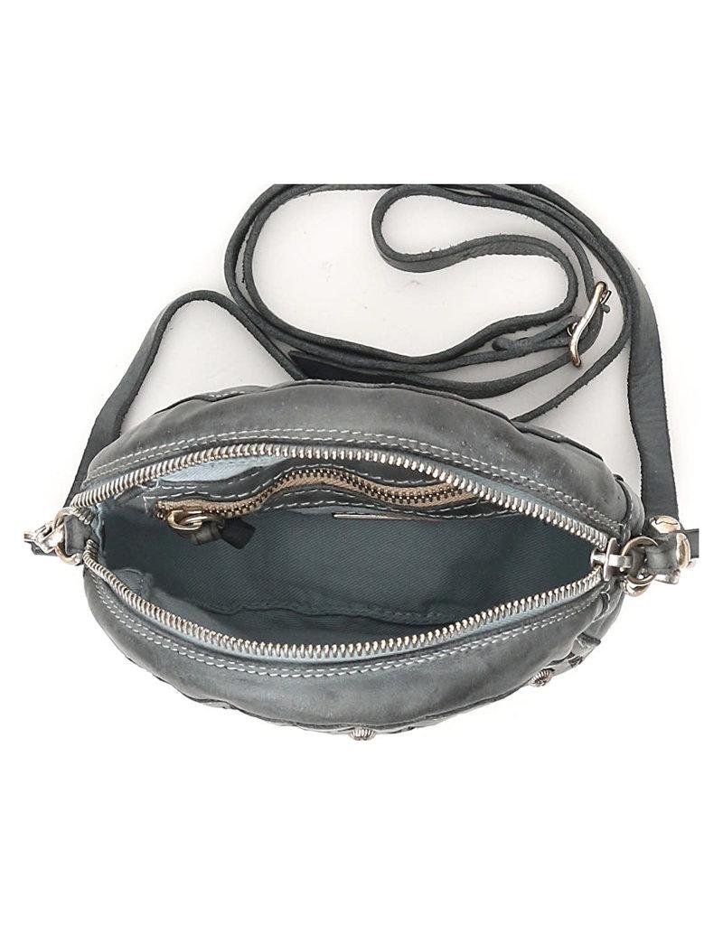 Campomaggi Crossbody Bag. Small. Genuine leather. Bleached + Laser Cut + Multi Studs. Avion.