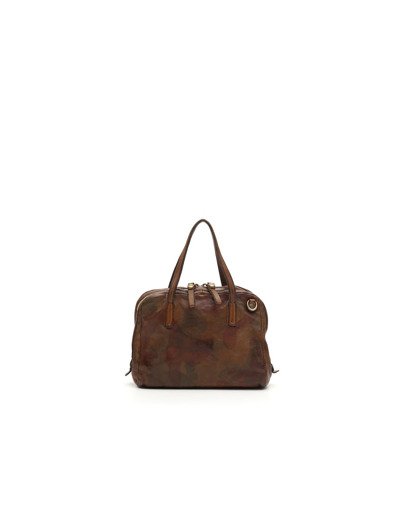 Campomaggi Shopping bag. Small. Genuine Leather. Camouflage. Military Green.