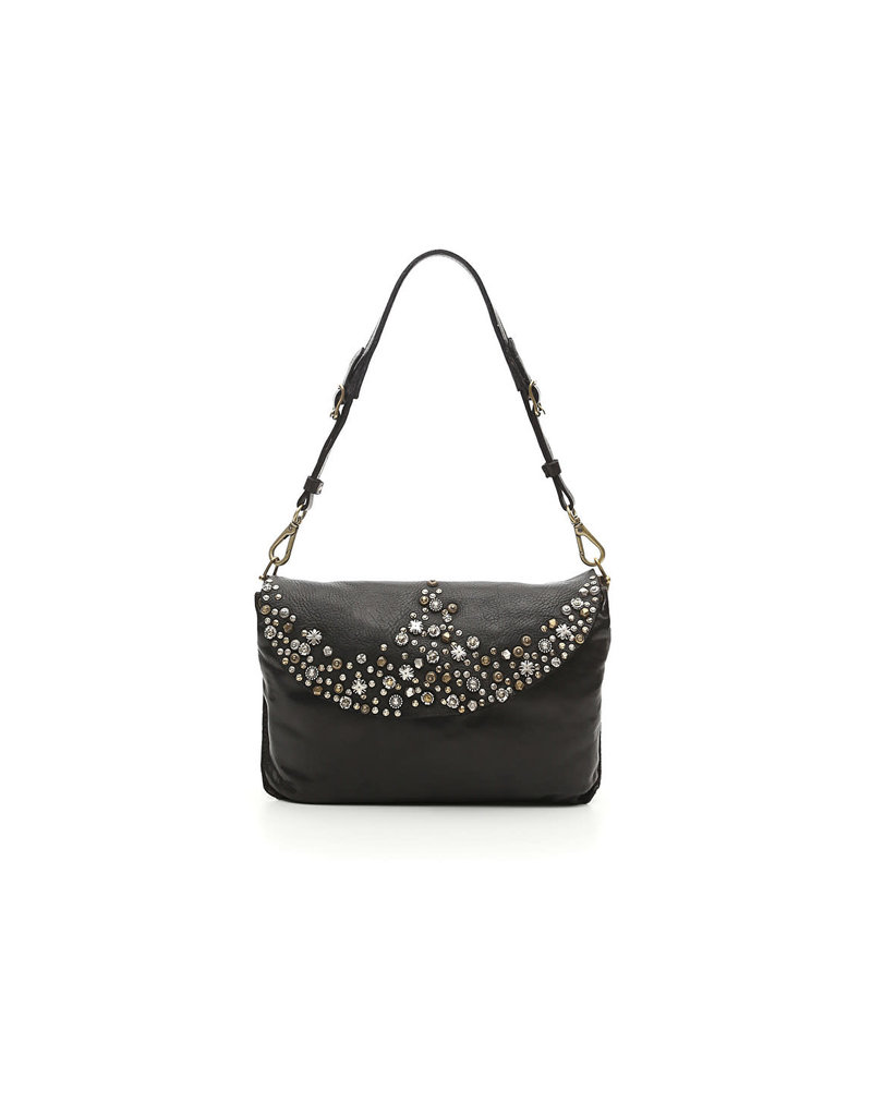 Campomaggi Cross body bag. Leather with multistuds. Black.