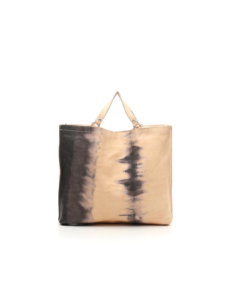 Campomaggi Shopping bag. Medium. Bleached Leather. Tye Dye Print. Black.