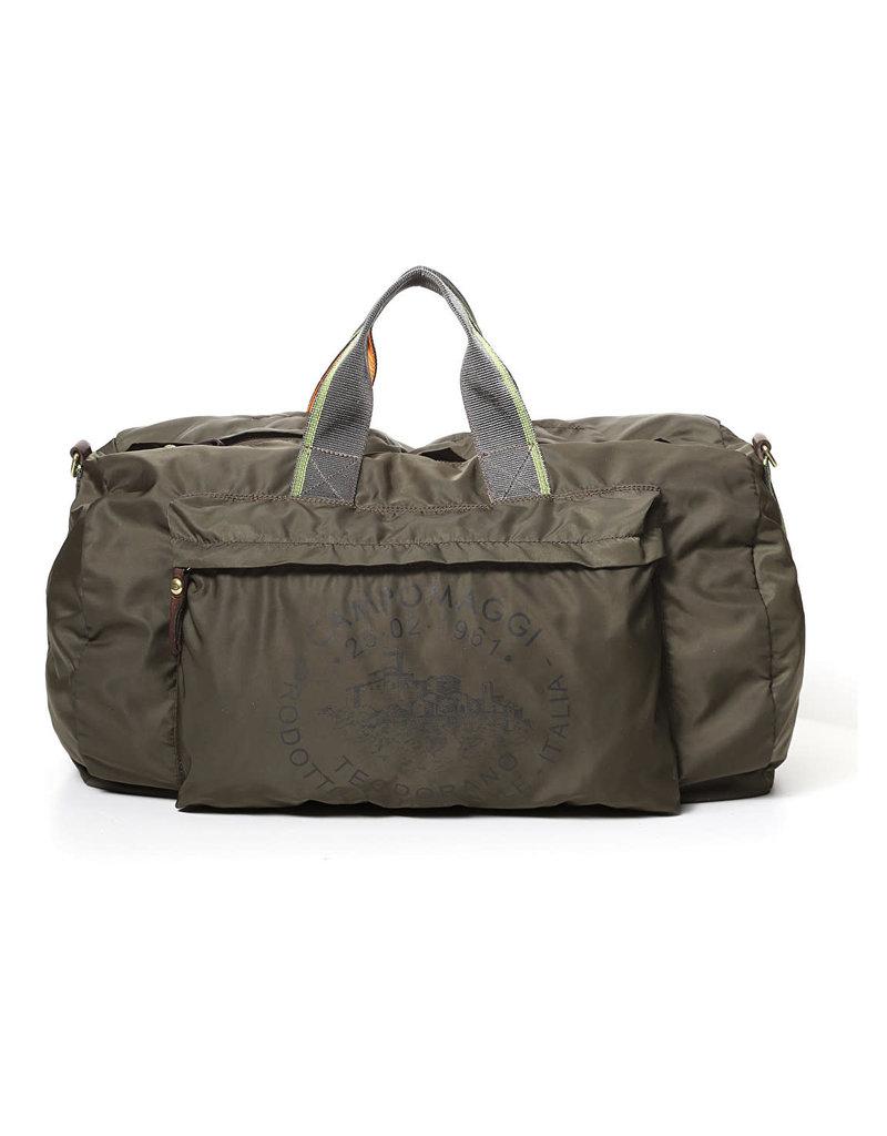 Campomaggi Weekend bag. Nylon + Ribbon + leather. Military Green + Brown + Black PR.