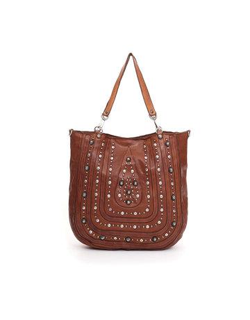 Campomaggi Shopping bag. Leather. Laser drop + Studs. Cognac.