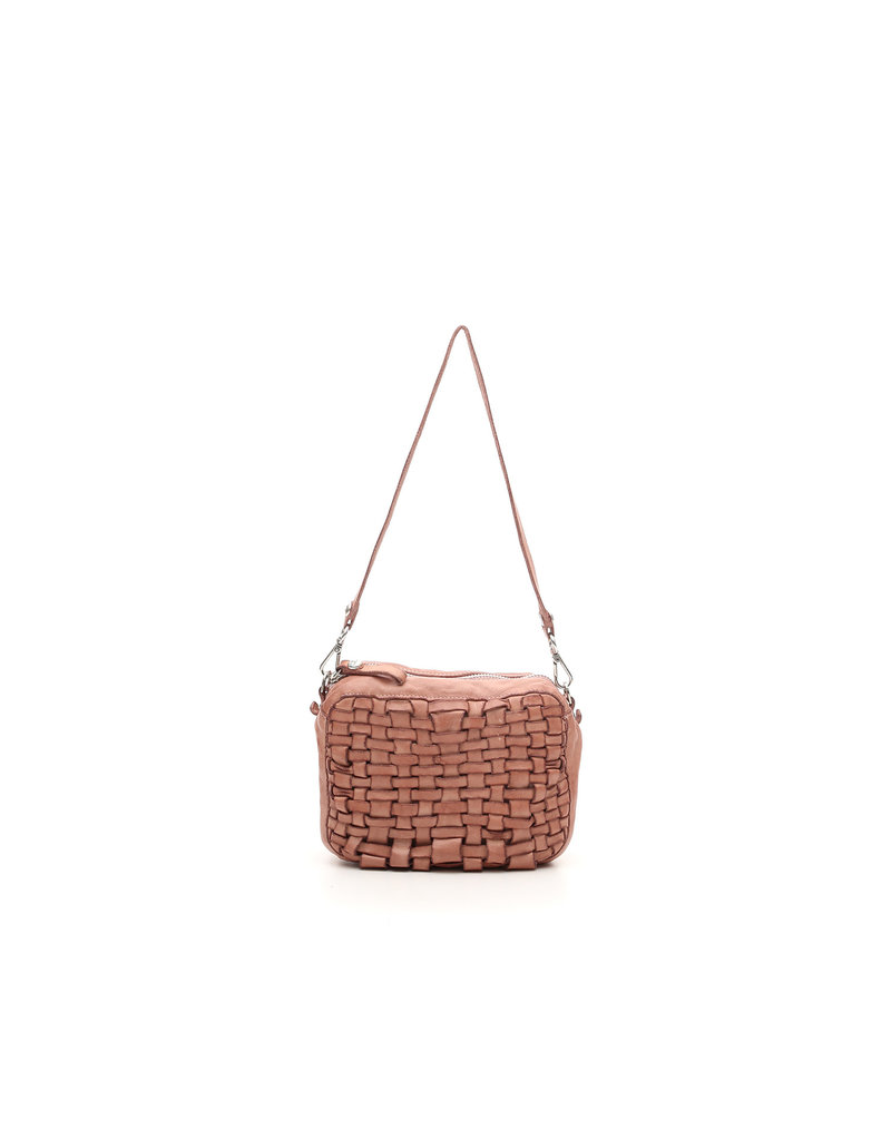 Campomaggi Bowling bag. Small. Genuine Leather. Bleached Woven. Pink.