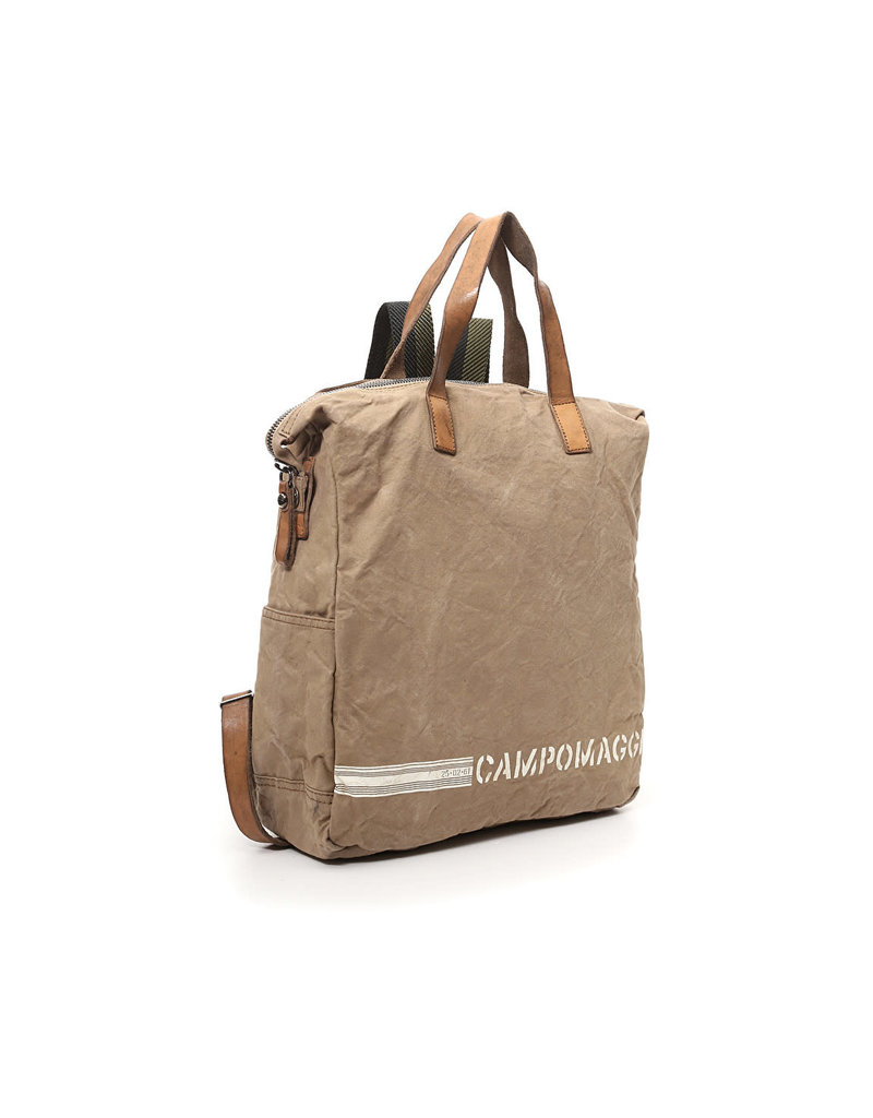 Campomaggi Backpack. Medium. Canvas + Leather + Ribbon. Beige + Cognac Stained + White Print.