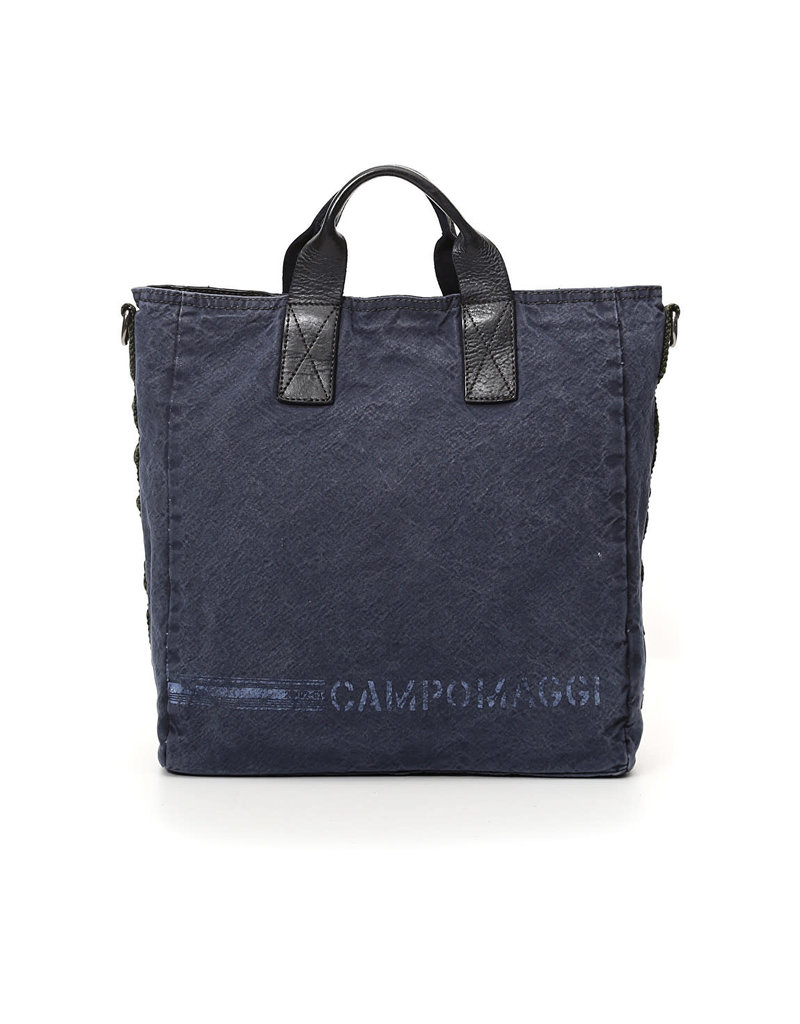 Campomaggi Shopping. Canvas + Leather + Ribbon. Beige + Blue Stained + White Print.