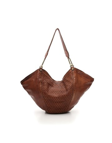 Campomaggi Anna M Shoulder bag. Medium. Honeycomb Woven Leather. Cognac.