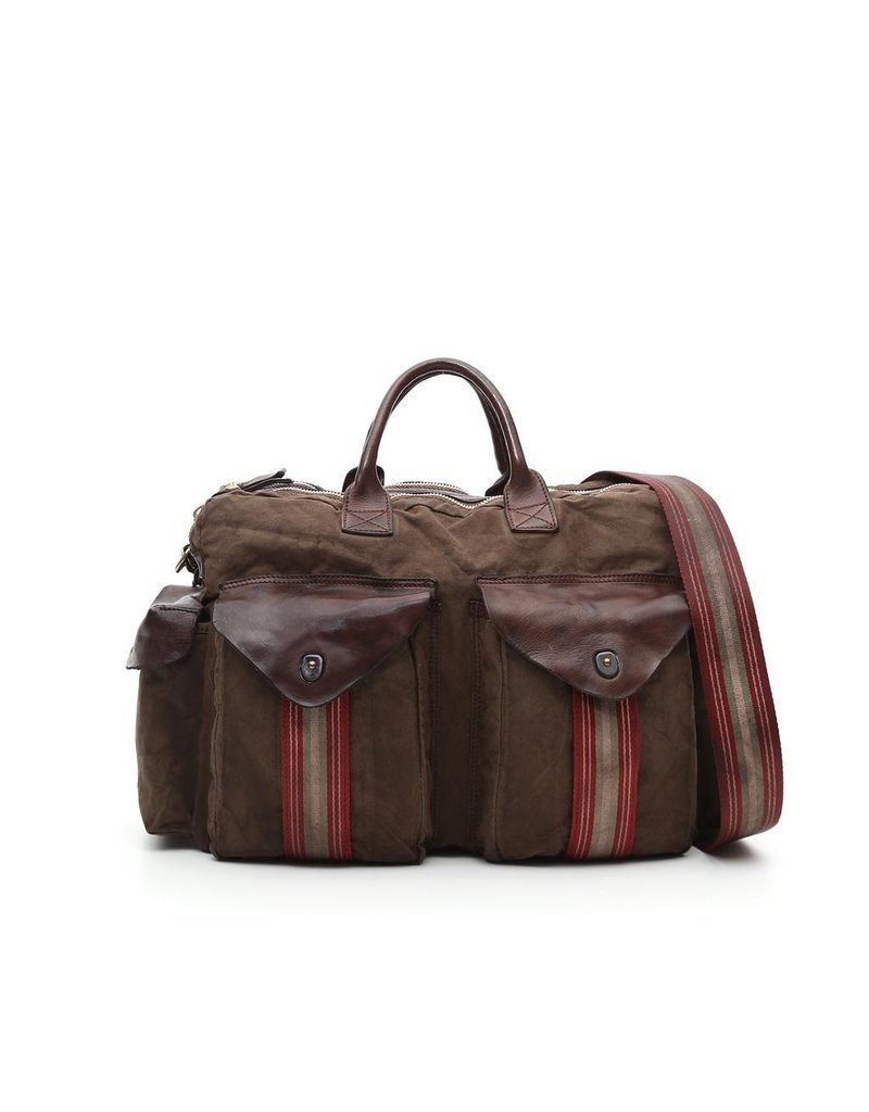 Campomaggi Briefcase. Leather and fabric. Military and Brown stained.