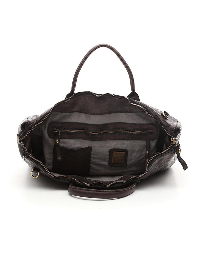 Campomaggi Briefcase. Genuine Leather + Crocodile Print. Black.