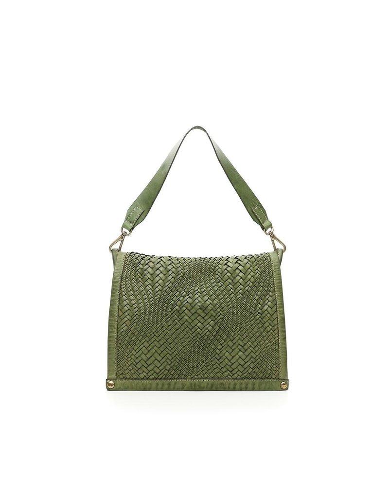 Campomaggi Genuine Leather. Medium crossbody bag. Bleached. Optical woven.. Sage Green.