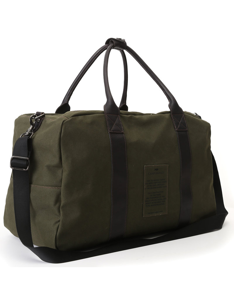 Campomaggi Weekend Bag. Canvas Willys & Leather. Military + Black + Black Print.