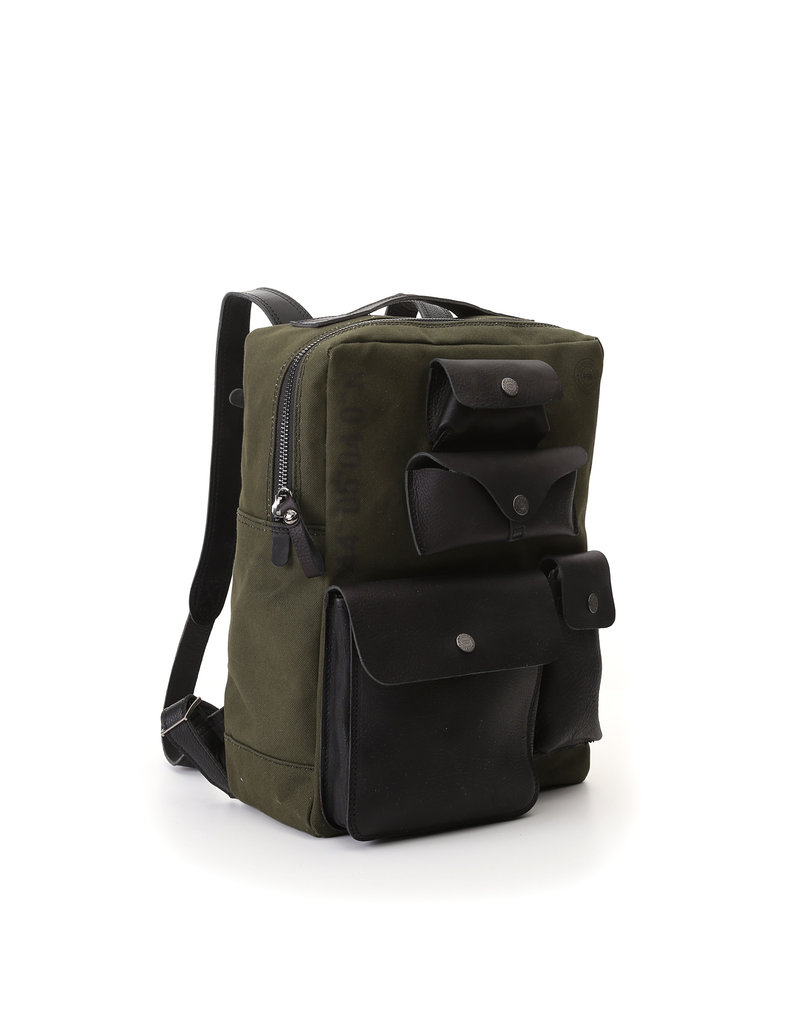 Campomaggi Backpack. Large Canvas illys?+ Leather. Military + Black + Black Print.