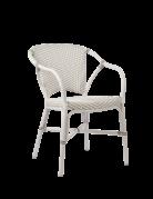 Exterior Valerie Chair, Exterior. Aluminium frame with ArtFibre weave White w Cappucino Dots. Frame White.