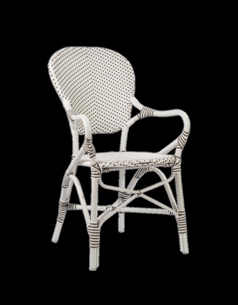 Exterior Isabell Arm Chair, Exterior. Aluminium frame with ArtFibre. White w Cappucino Dots