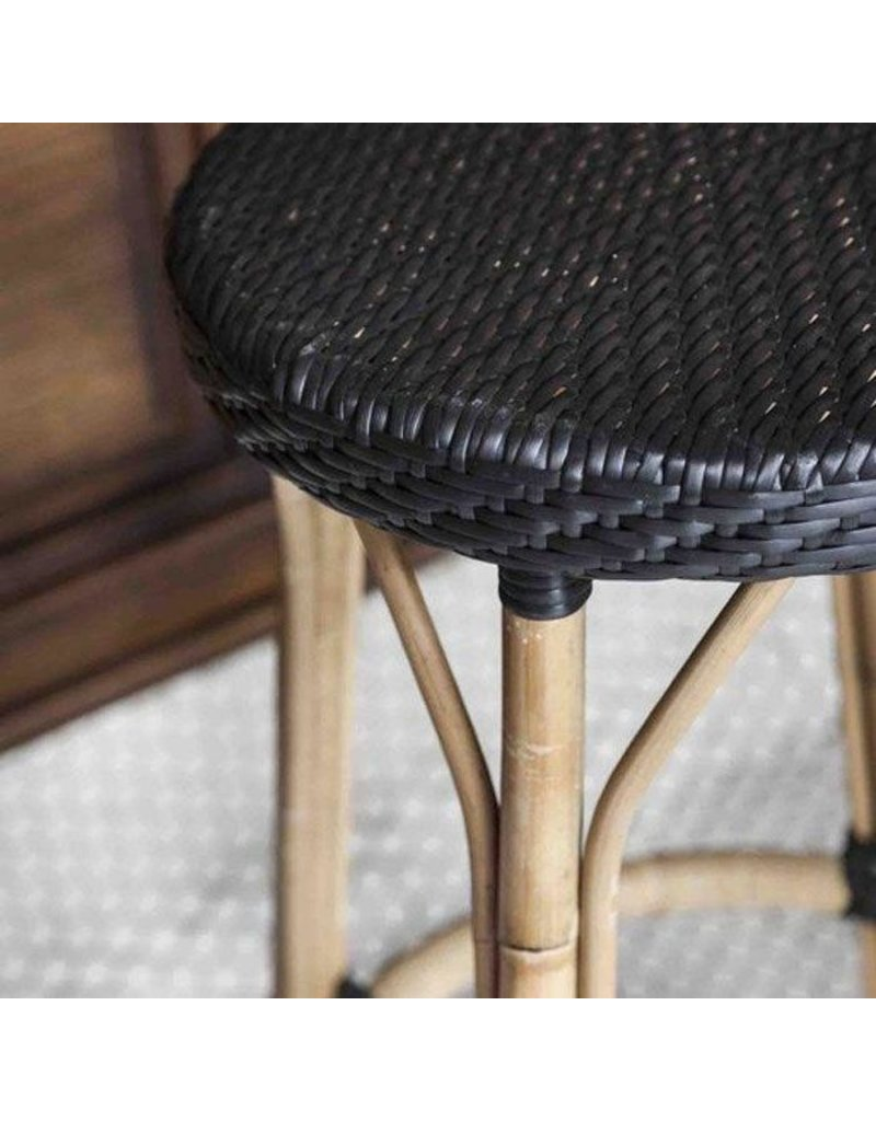 Affaire Simone Bar Stool. H77.5 cm. All black weave. ,