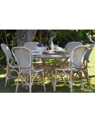 Affaire Danielle Dining Table, Cappucino with White Dot- Glass is optional code P9012