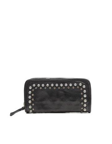Campomaggi 100% genuine leather. Wallet. Studs + Strass Laser Serenoa. Black.
